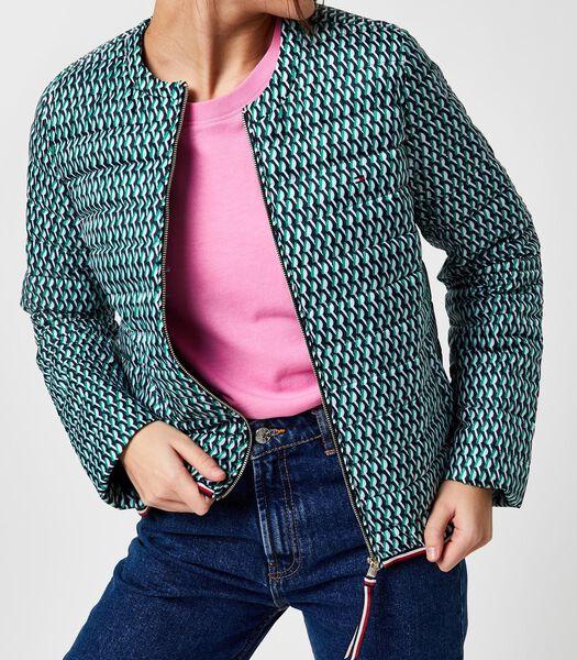 Met dons bedrukte kraagloze zomerjas