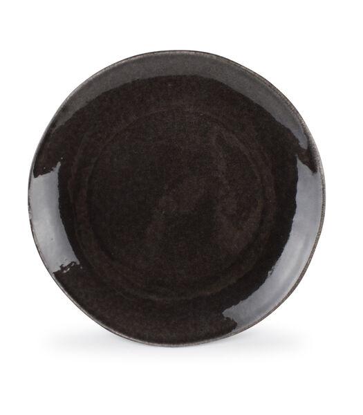 Assiette plate 27,5cm noir coupe Artisan - set/4