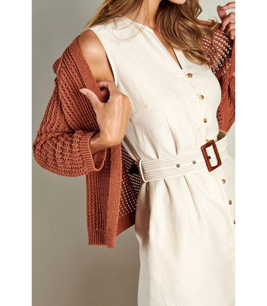 Crèmekleurige halflange jurk zonder mouwen
