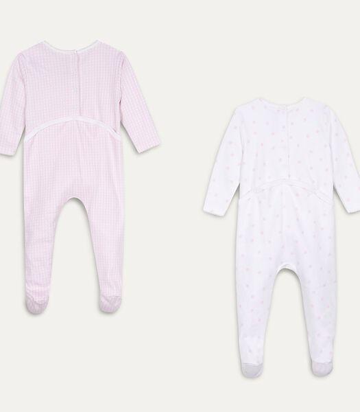 Set met 2 pyjama's met voetjes