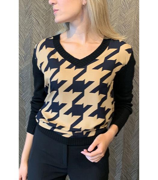 Coole trui met patroon dessin in zwart/beige
