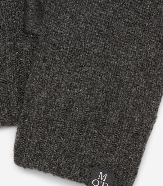 Gebreide handschoenen met handpalmen van leer