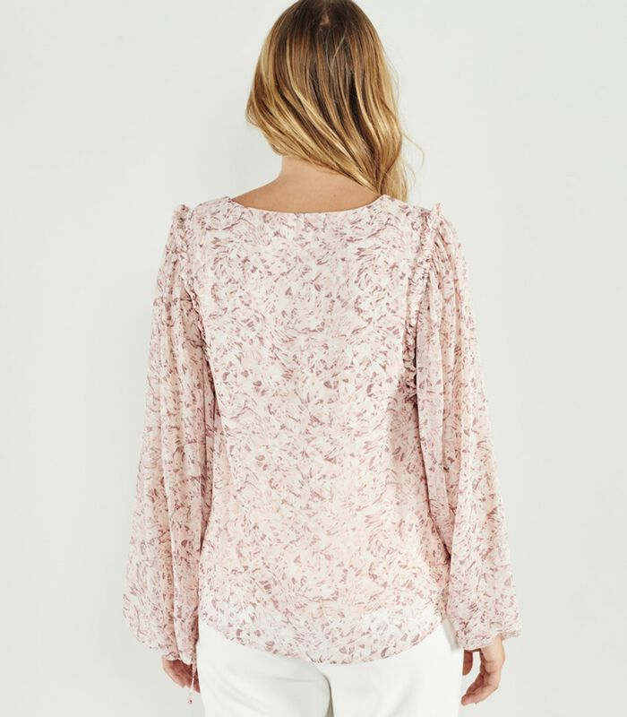 Lange mouw V-hals bloes met bloemenprint YOLANDA image number 3