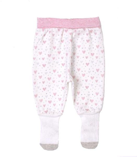 Biologisch katoenen baby broekje met voetjes, GIRLY