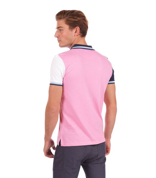 Polo in jersey tweekleurig roze