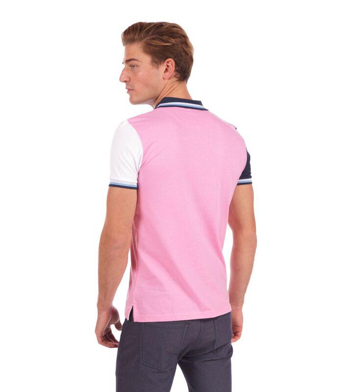 Polo in jersey tweekleurig roze image number 1