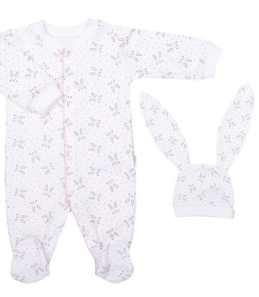 Biologische katoenen babypyjama en muts, Konijn