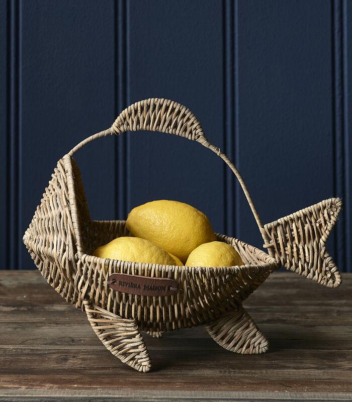 Rustic Rattan Happy Fish Basket image number 1
