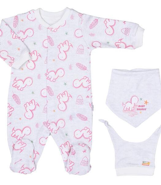 Baby pyjama met bandana en mutsje van biologisch katoen