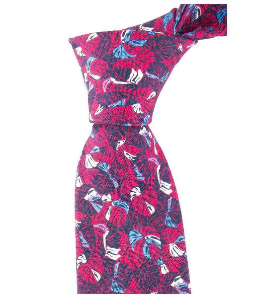 Cravate motifs feuilles en soie et coton