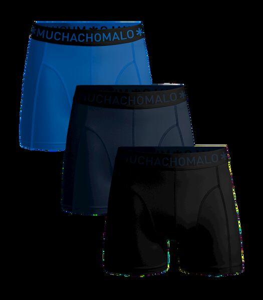 Men 3-Pack Short Solid/Solid/Solid Black/Navy/Blue S