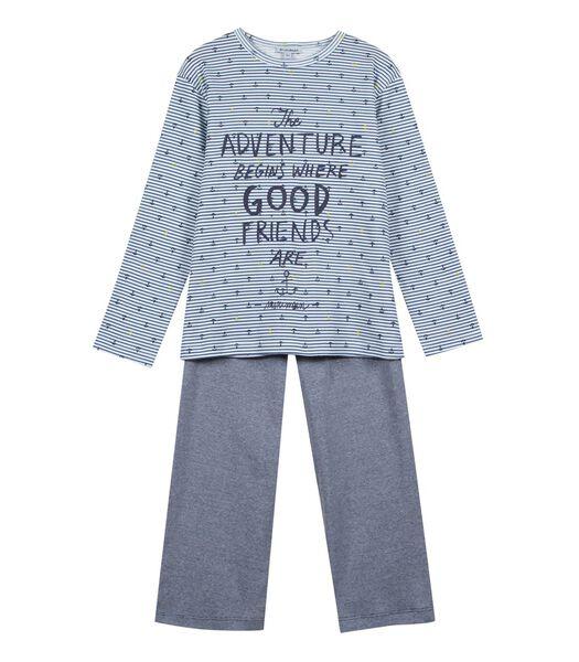 Pyjamatop met lange mouwen en motief vooraan