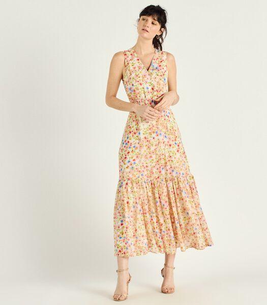 Lange jurk met bloemenprint V-hals SILVIA