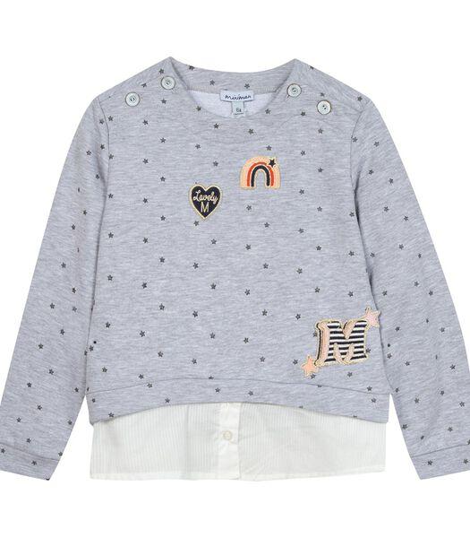 Sweatshirt met stermotief en geborduurde badges