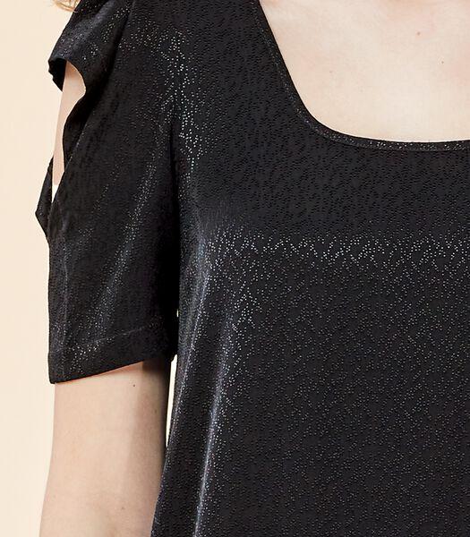 Asymmetrische zwarte jurk VIRGWOOLF in jacquard