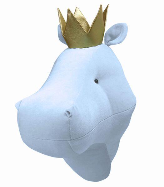 Blauw nijlpaard pluche trofee