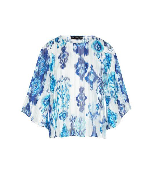 Bedrukte voile en lurex blouse CALVI